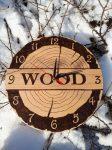 Wood grafikával készített fali óra - 36 cm átmérő