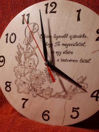 Születésnapi ajándék - egyedi falióra,  kardvirág és gerbera virág grafikával