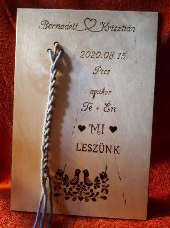 Táblácska kötélceremóniához - esküvői kellék