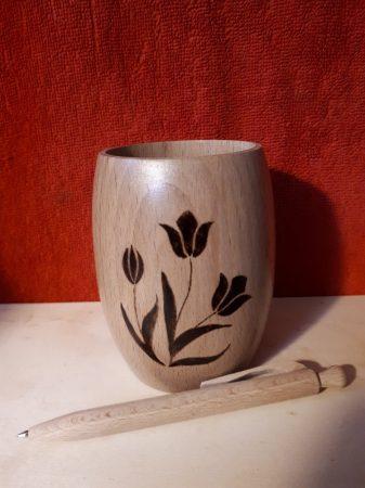 Hordócska tolltartó - Tulipános rajzzal